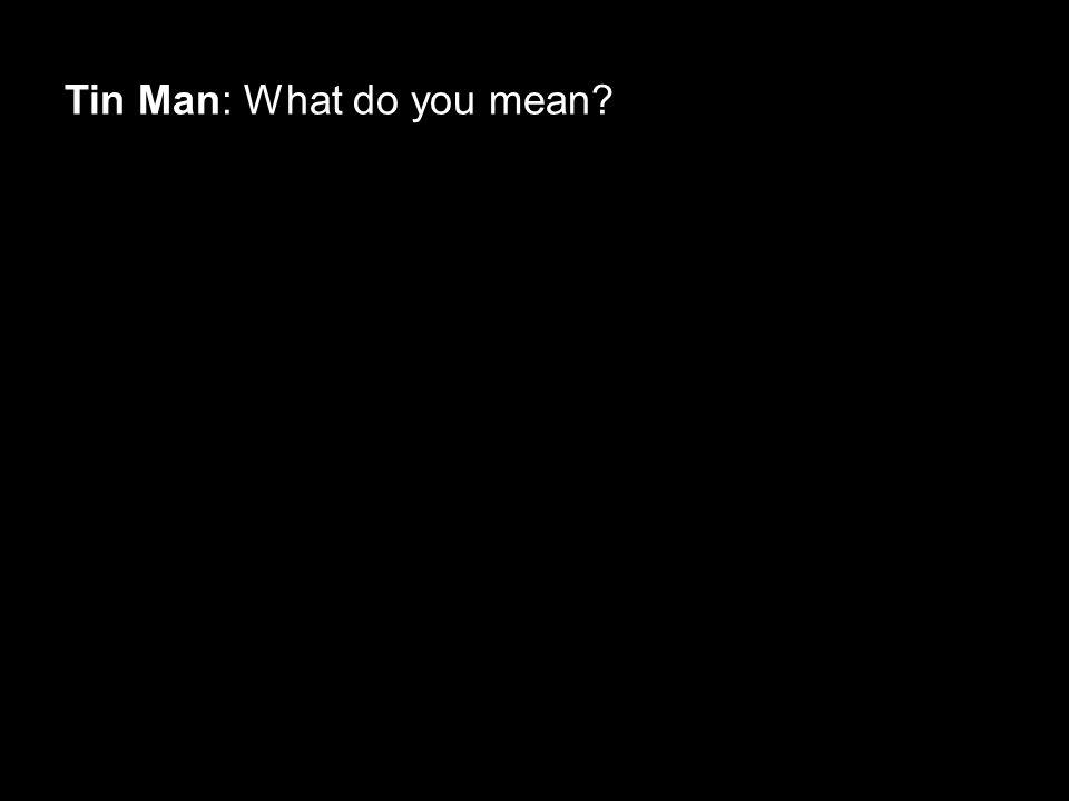 Tin Man: What do you mean?