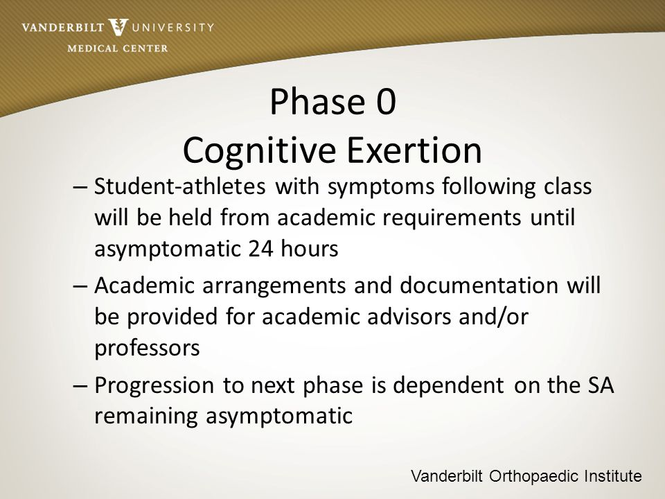 Vanderbilt Orthopaedic Institute Phase 1 Aerobic Exertion – Functional exertion test Bike 20 minutes @ 70 percent of PMHR Rest 15 minutes Monitor symptoms Incremental Treadmill Test 20 minutes (Leddy et al 2010) – Progression to next phase is dependent on the SA remaining asymptomatic