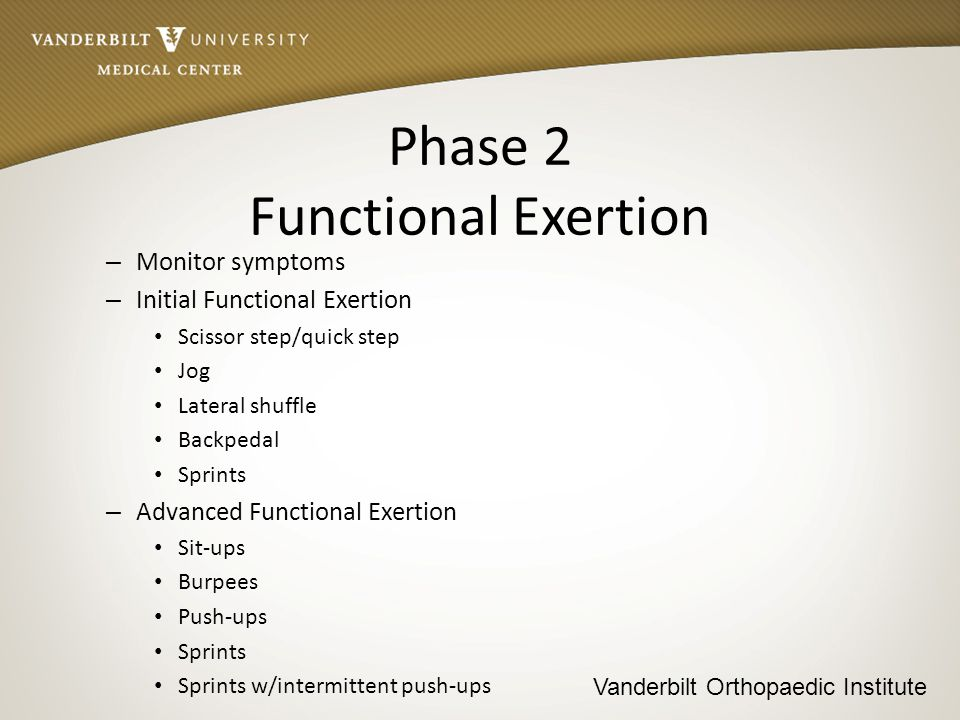 Vanderbilt Orthopaedic Institute Phase 3 Sport Specific Exertion – Parameters Duration approximately 10-15 minutes w/5 minutes rest following session Monitor symptoms Progression depends on the student-athlete remaining asymptomatic – Initial Moderate aerobic exercises specific to sport – Intermediate Progressively difficult exercises specific to sport – Advanced Demanding aerobic exercises specific to sport
