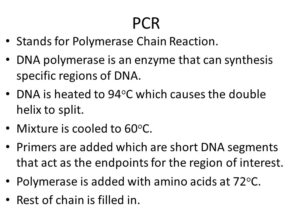 PCR Stands for Polymerase Chain Reaction.
