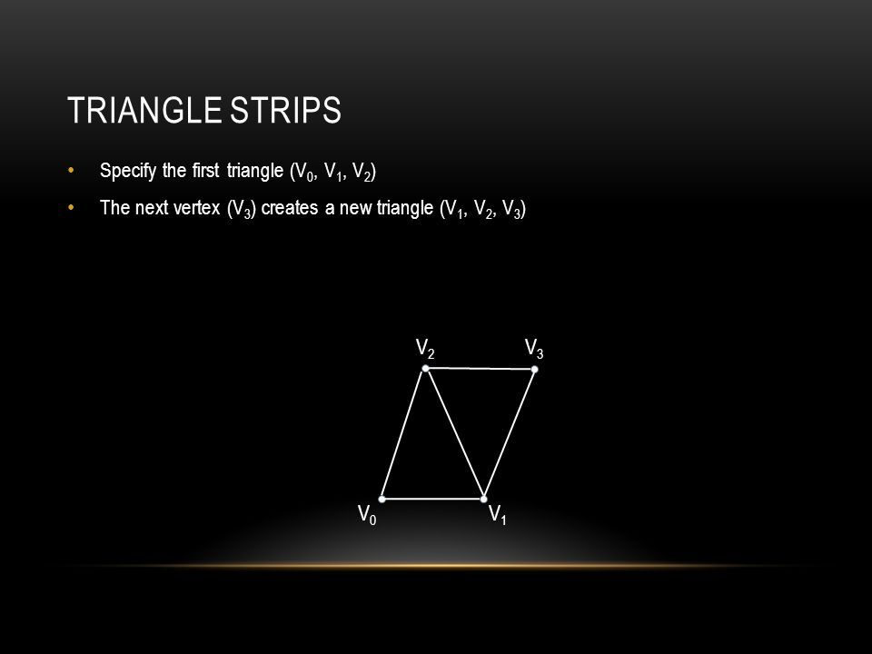 TRIANGLE STRIPS Specify the first triangle (V 0, V 1, V 2 ) The next vertex (V 3 ) creates a new triangle (V 1, V 2, V 3 ) V0V0 V1V1 V2V2 V3V3
