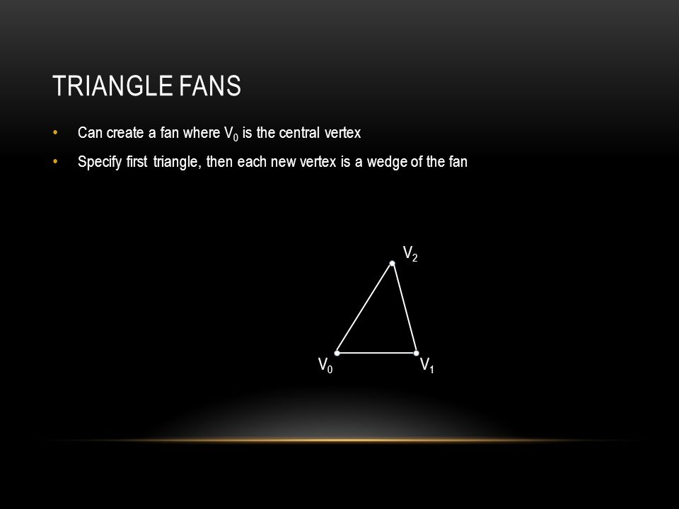 TRIANGLE FANS Can create a fan where V 0 is the central vertex Specify first triangle, then each new vertex is a wedge of the fan V0V0 V1V1 V2V2