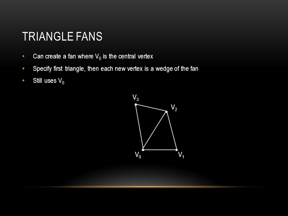TRIANGLE FANS Can create a fan where V 0 is the central vertex Specify first triangle, then each new vertex is a wedge of the fan Still uses V 0 V0V0 V1V1 V2V2 V3V3