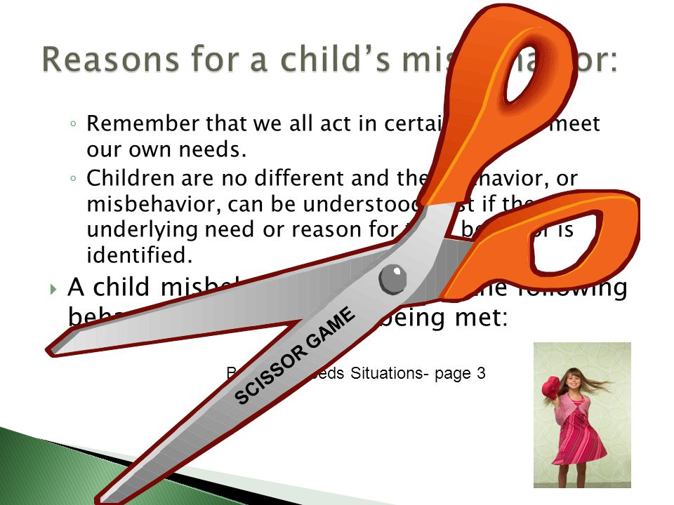 Behavior Needs Situations- page 3 ◦ Remember that we all act in certain ways to meet our own needs.