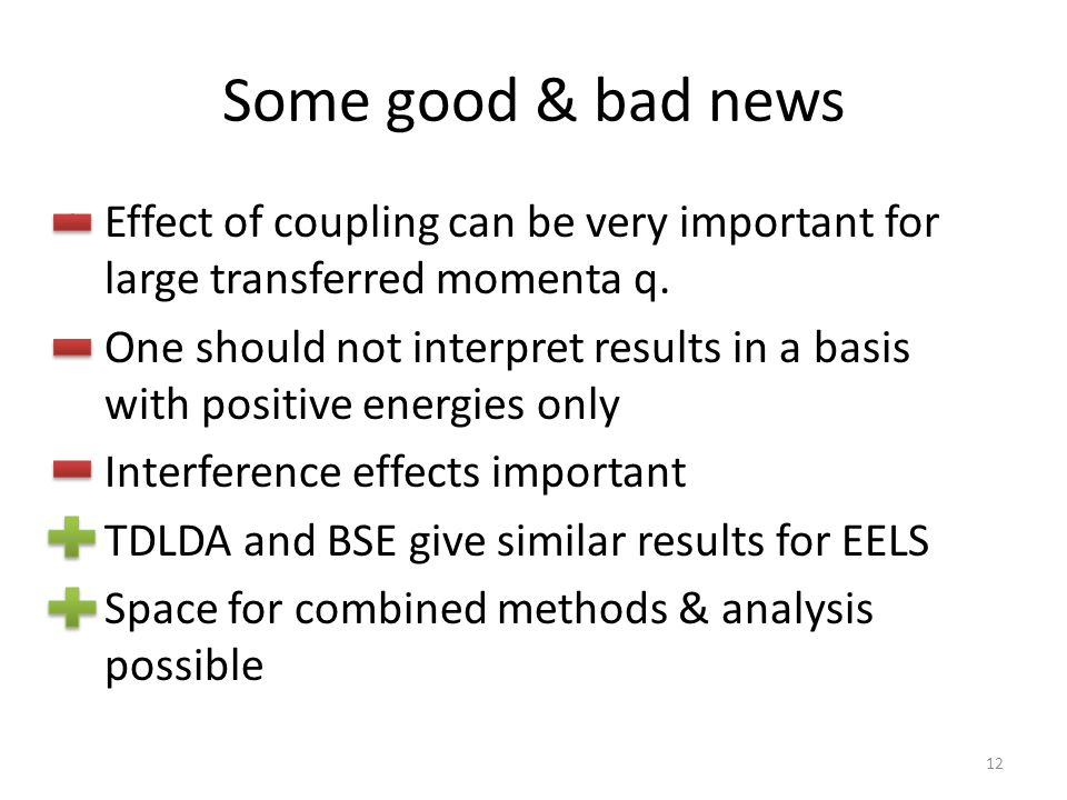Some good & bad news Effect of coupling can be very important for large transferred momenta q. One should not interpret results in a basis with positi