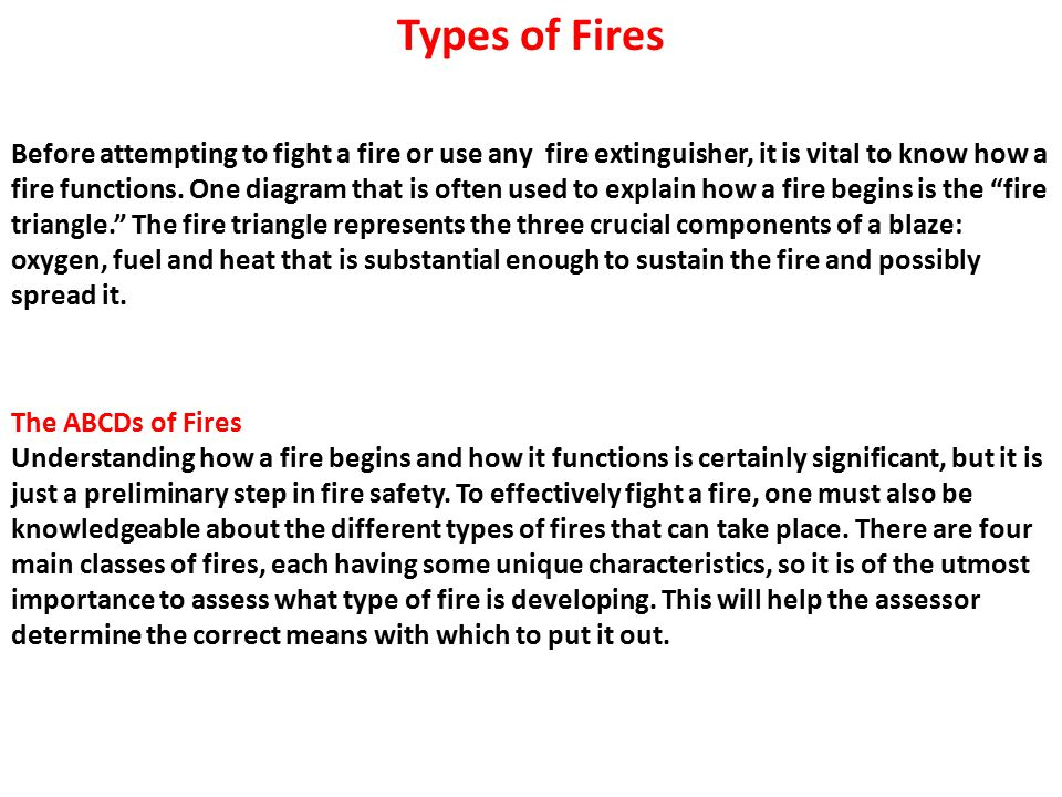 Before attempting to fight a fire or use any fire extinguisher, it is vital to know how a fire functions.