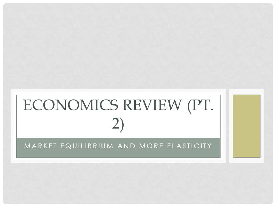 MARKET EQUILIBRIUM AND MORE ELASTICITY ECONOMICS REVIEW (PT. 2)