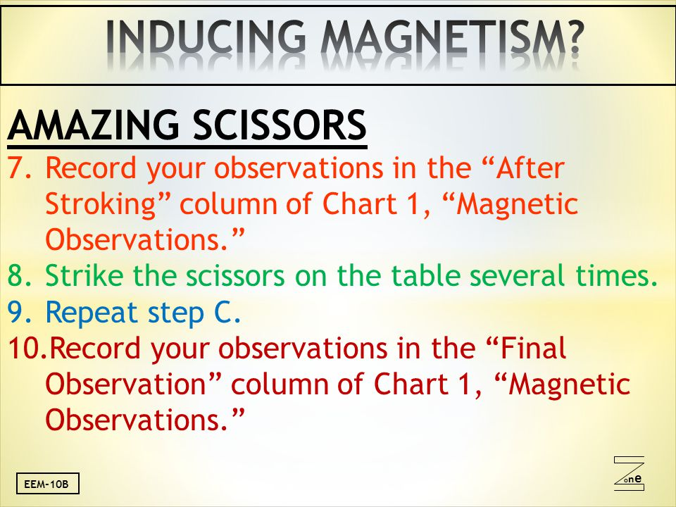 oneone AMAZING SCISSORS 7.Record your observations in the After Stroking column of Chart 1, Magnetic Observations. 8.Strike the scissors on the table several times.