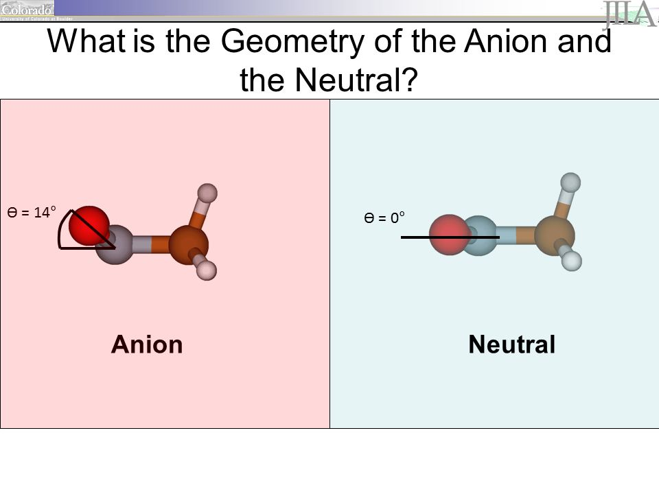 Ө = 14° Ө = 0° AnionNeutral What is the Geometry of the Anion and the Neutral