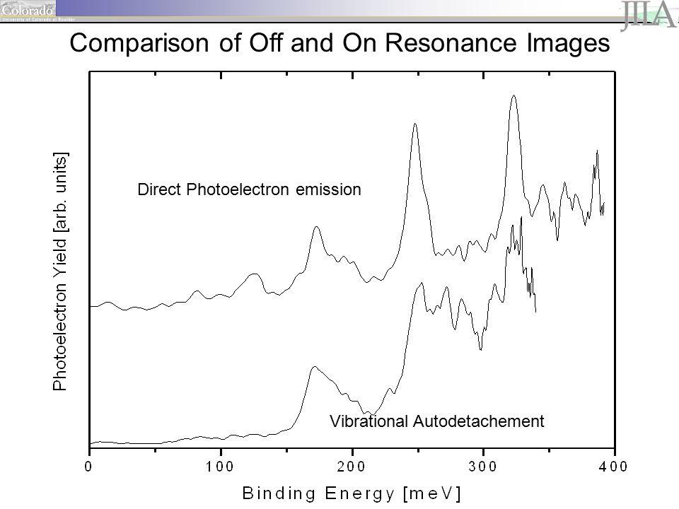 Vibrational Autodetachement Direct Photoelectron emission Comparison of Off and On Resonance Images