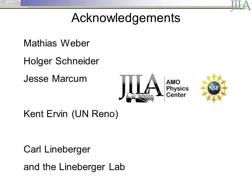 Acknowledgements Mathias Weber Holger Schneider Jesse Marcum Kent Ervin (UN Reno) Carl Lineberger and the Lineberger Lab