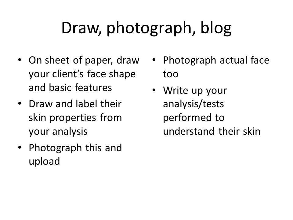 Draw, photograph, blog On sheet of paper, draw your client's face shape and basic features Draw and label their skin properties from your analysis Photograph this and upload Photograph actual face too Write up your analysis/tests performed to understand their skin