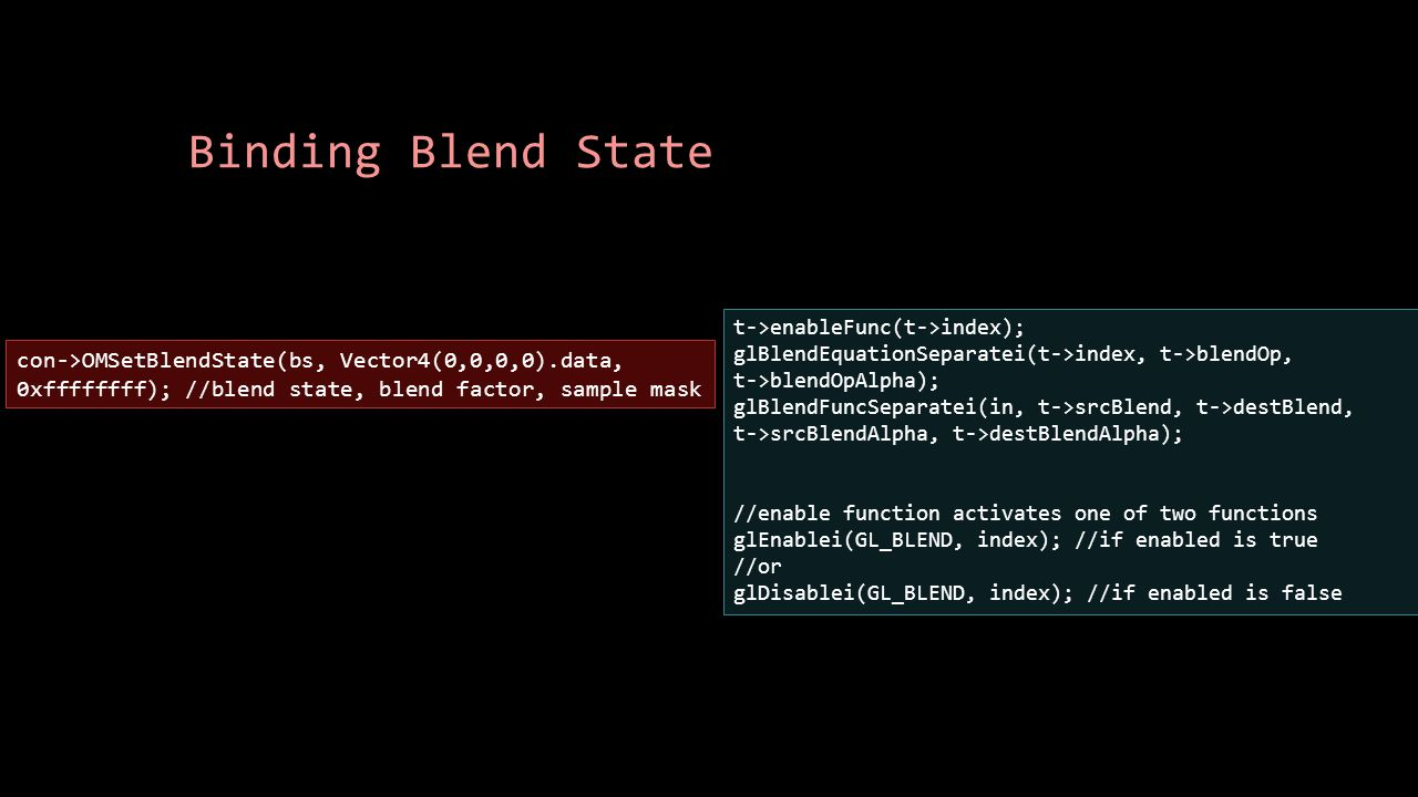 Binding Blend State t->enableFunc(t->index); glBlendEquationSeparatei(t->index, t->blendOp, t->blendOpAlpha); glBlendFuncSeparatei(in, t->srcBlend, t-