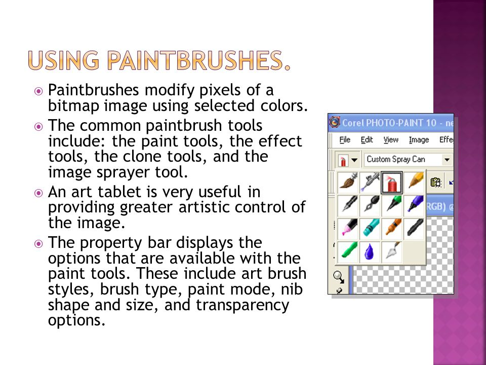 Paintbrushes modify pixels of a bitmap image using selected colors.
