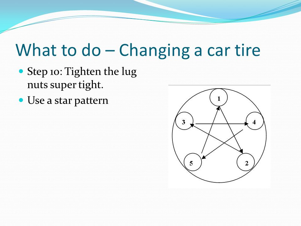 What to do – Changing a car tire Step 10: Tighten the lug nuts super tight. Use a star pattern
