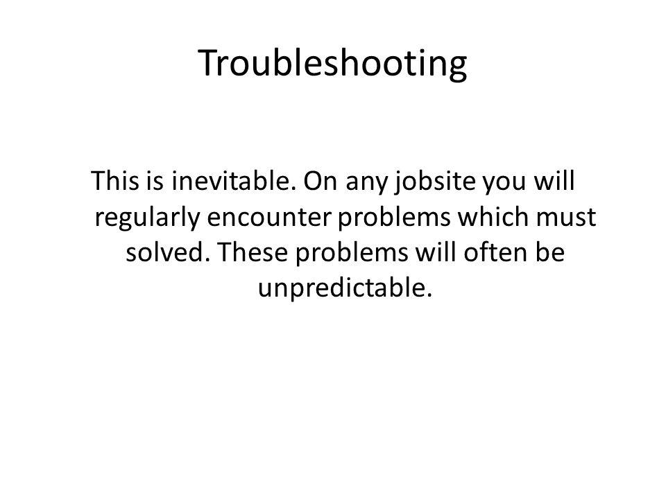 Troubleshooting This is inevitable.