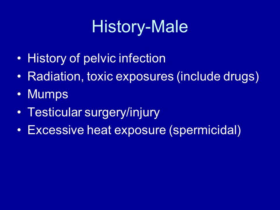 History-Female Previous female pelvic surgery PID Appendicitis IUD use Ectopic pregnancy history DES (?relation to infertility) Endometriosis