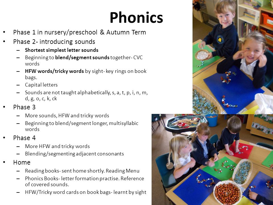 Phonics Phase 1 in nursery/preschool & Autumn Term Phase 2- introducing sounds – Shortest simplest letter sounds – Beginning to blend/segment sounds t