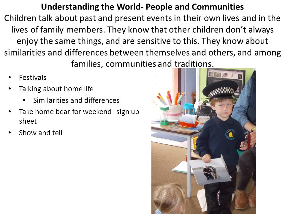 Understanding the World- People and Communities Children talk about past and present events in their own lives and in the lives of family members. The
