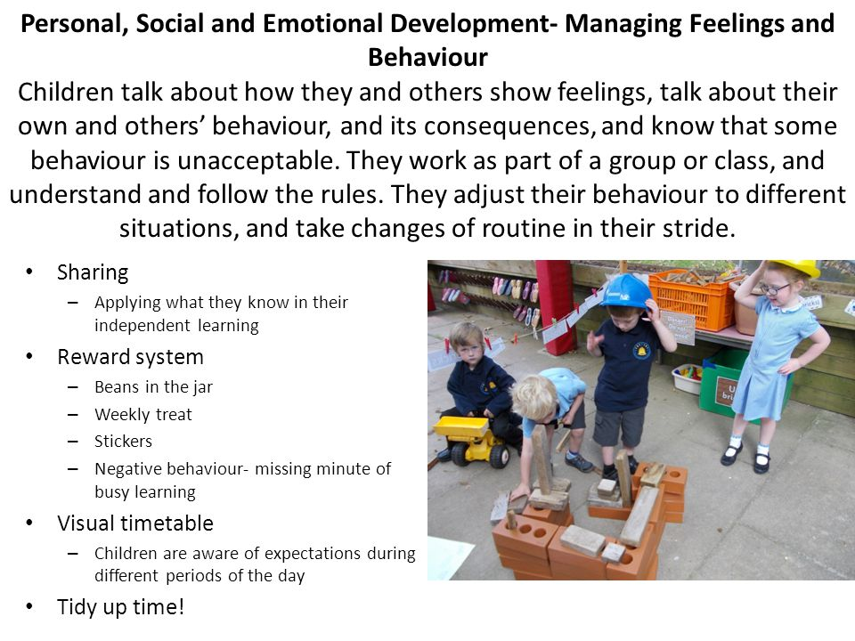 Personal, Social and Emotional Development- Managing Feelings and Behaviour Children talk about how they and others show feelings, talk about their ow