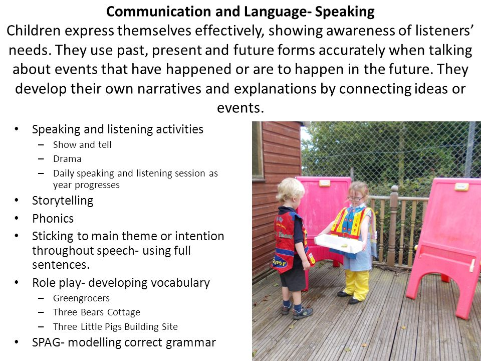 Communication and Language- Speaking Children express themselves effectively, showing awareness of listeners' needs. They use past, present and future