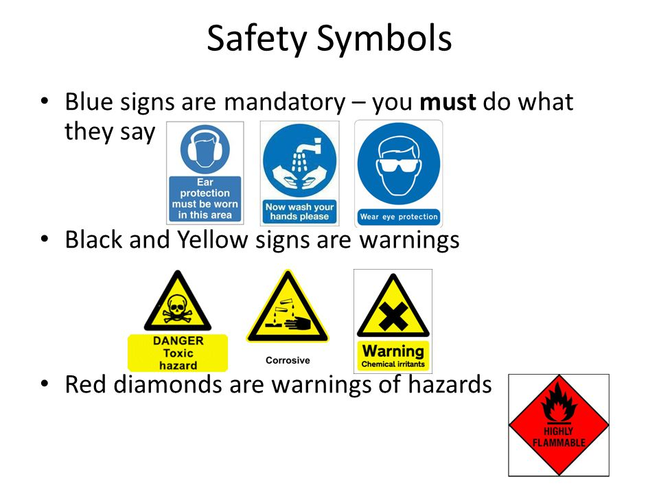 Safety Symbols Blue signs are mandatory – you must do what they say Black and Yellow signs are warnings Red diamonds are warnings of hazards