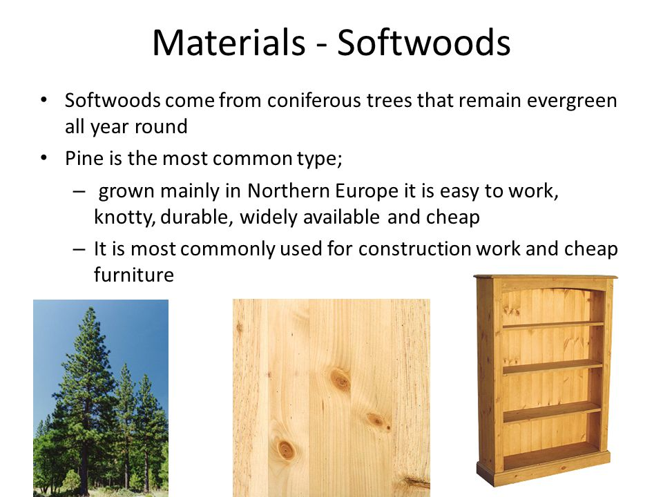 Materials - Softwoods Softwoods come from coniferous trees that remain evergreen all year round Pine is the most common type; – grown mainly in Northern Europe it is easy to work, knotty, durable, widely available and cheap – It is most commonly used for construction work and cheap furniture