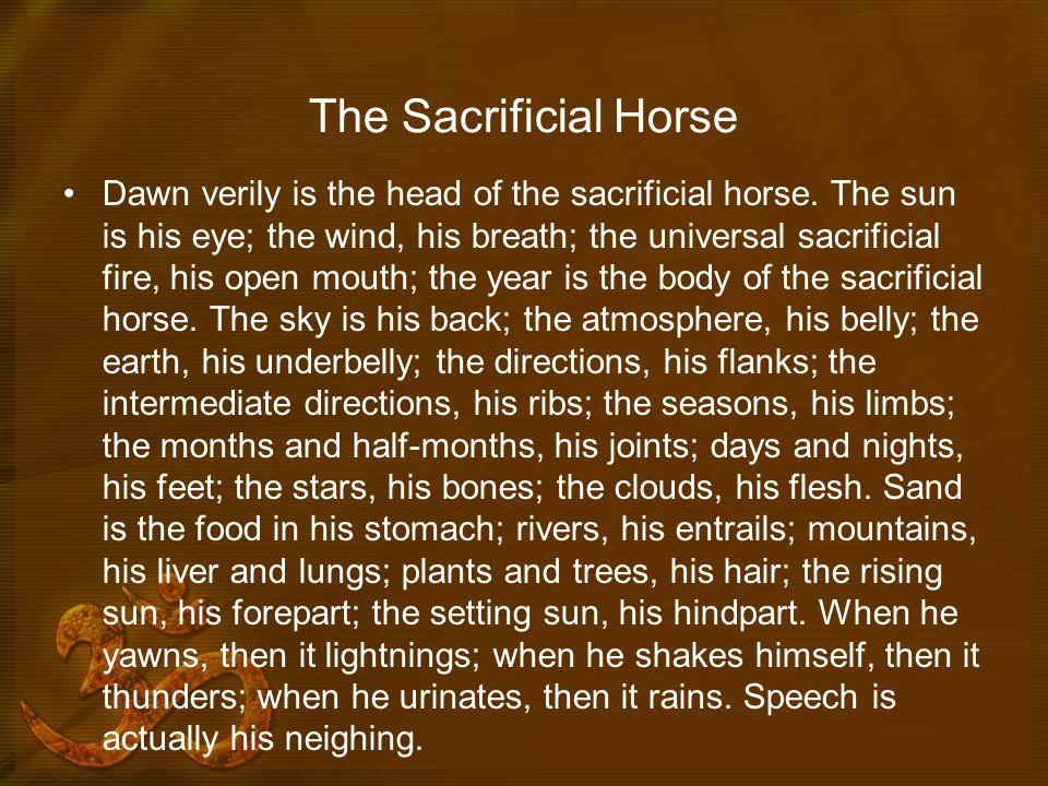 The Sacrificial Horse Dawn verily is the head of the sacrificial horse.