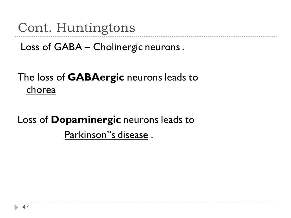 Cont.Huntingtons 47 Loss of GABA – Cholinergic neurons.