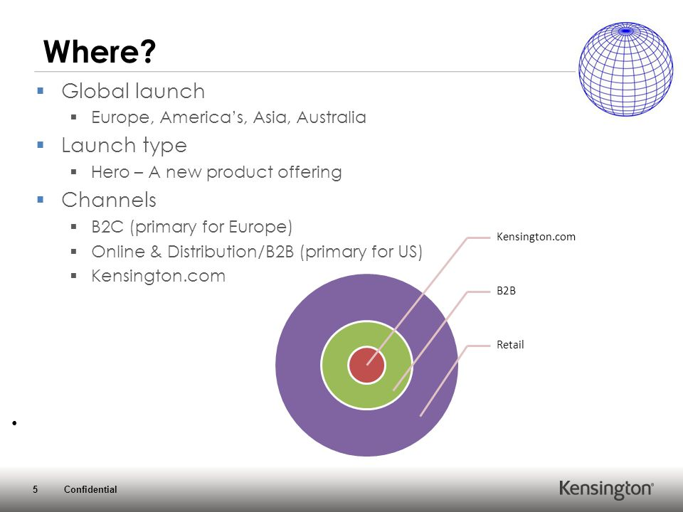 5 Confidential Where?  Global launch  Europe, America's, Asia, Australia  Launch type  Hero – A new product offering  Channels  B2C (primary for