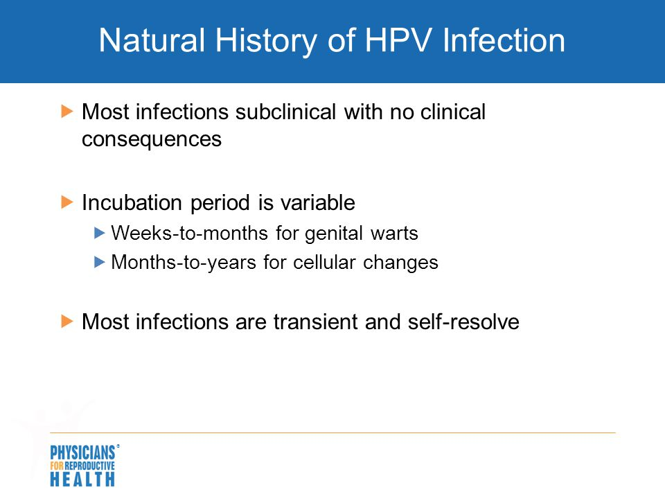  Natural History of HPV Infection  Most infections subclinical with no clinical consequences  Incubation period is variable  Weeks-to-months for g