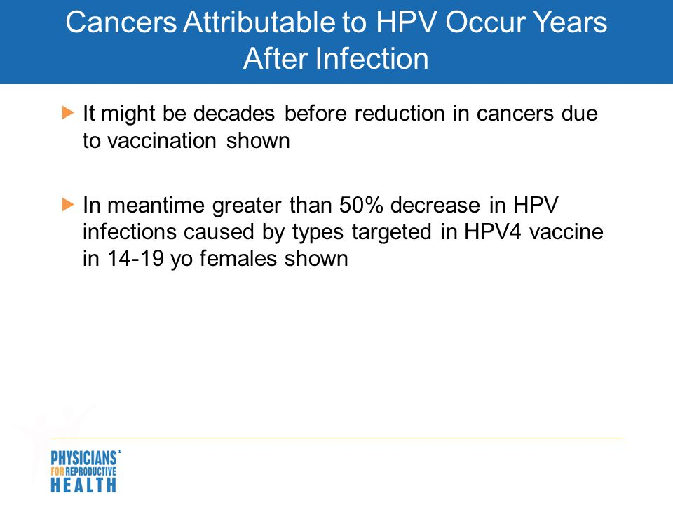  Cancers Attributable to HPV Occur Years After Infection  It might be decades before reduction in cancers due to vaccination shown  In meantime gre