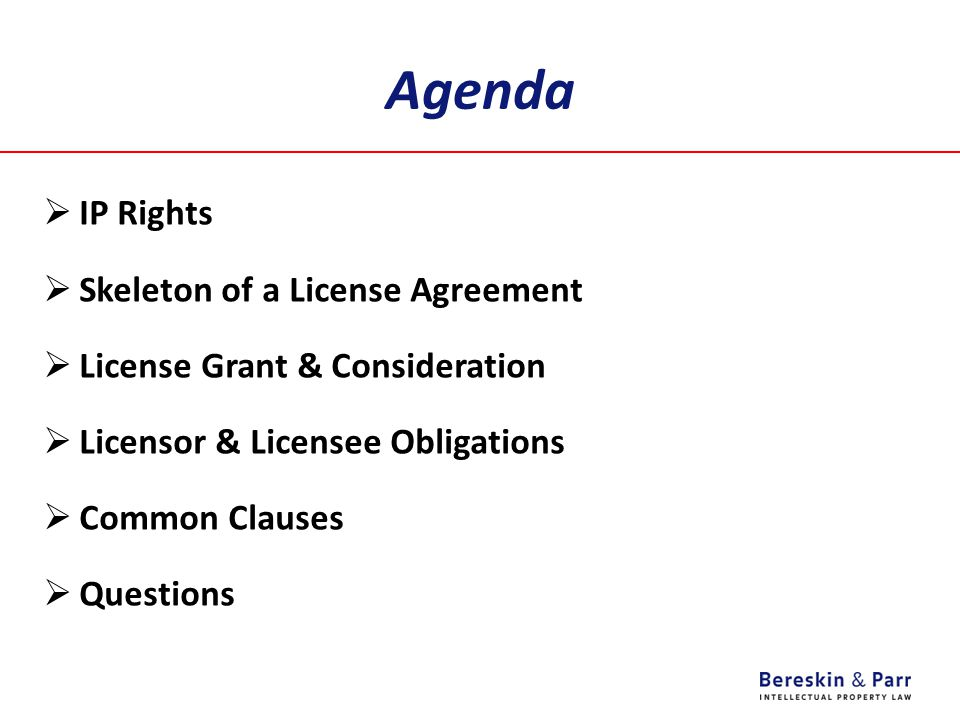 Agenda  IP Rights  Skeleton of a License Agreement  License Grant & Consideration  Licensor & Licensee Obligations  Common Clauses  Questions