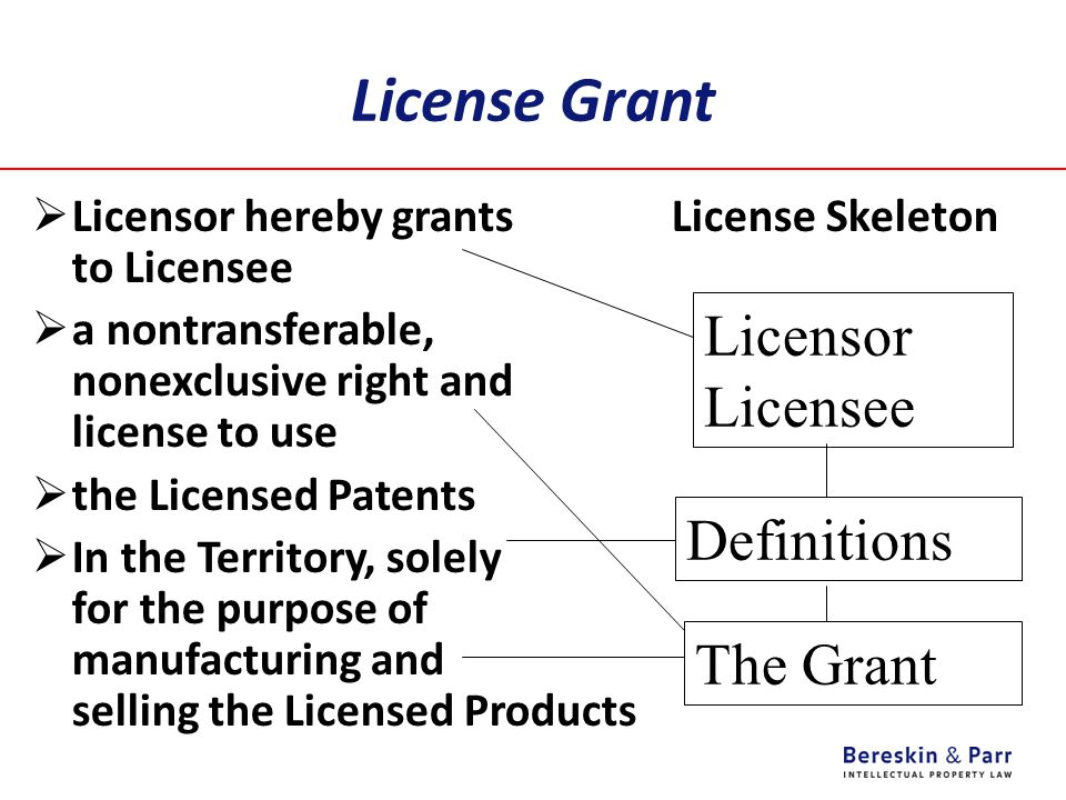 License Grant  Licensor hereby grants License Skeleton to Licensee  a nontransferable, nonexclusive right and license to use  the Licensed Patents