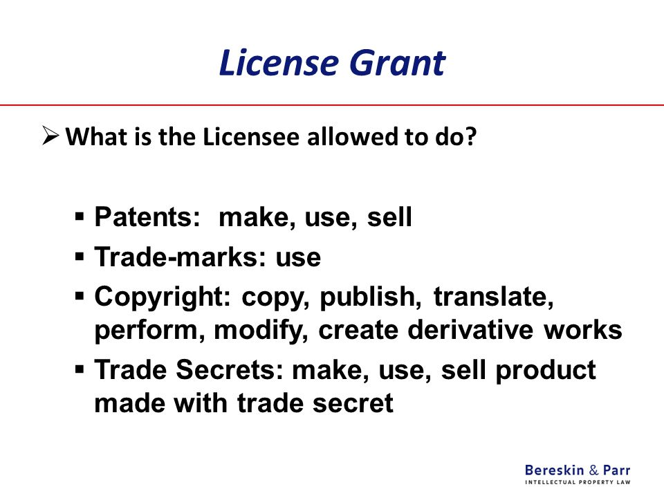 License Grant  What is the Licensee allowed to do?  Patents: make, use, sell  Trade-marks: use  Copyright: copy, publish, translate, perform, modi