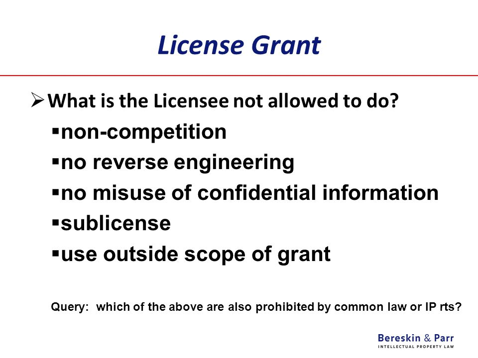 License Grant  What is the Licensee not allowed to do?  non-competition  no reverse engineering  no misuse of confidential information  sublicens