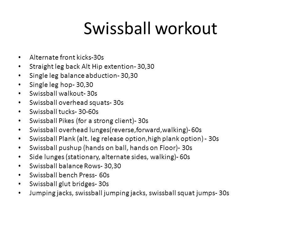 Swissball workout Alternate front kicks-30s Straight leg back Alt Hip extention- 30,30 Single leg balance abduction- 30,30 Single leg hop- 30,30 Swissball walkout- 30s Swissball overhead squats- 30s Swissball tucks- 30-60s Swissball Pikes (for a strong client)- 30s Swissball overhead lunges(reverse,forward,walking)- 60s Swissball Plank (alt.