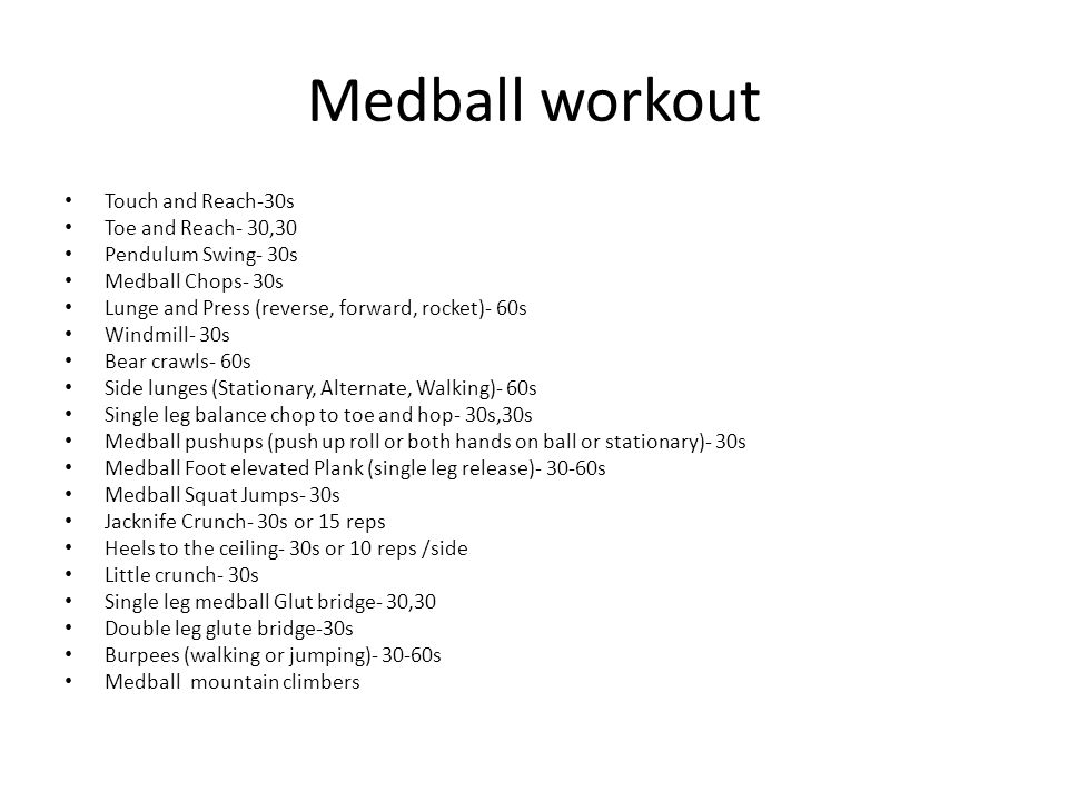Medball workout Touch and Reach-30s Toe and Reach- 30,30 Pendulum Swing- 30s Medball Chops- 30s Lunge and Press (reverse, forward, rocket)- 60s Windmi