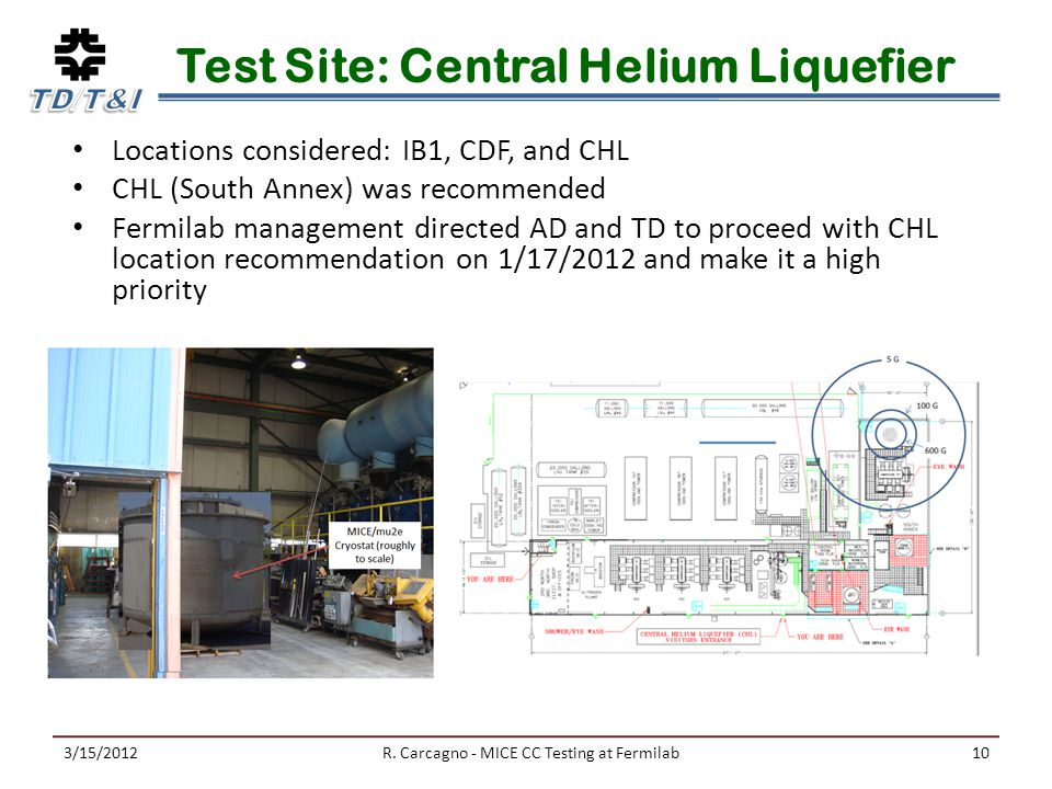 Test Site: Central Helium Liquefier Locations considered: IB1, CDF, and CHL CHL (South Annex) was recommended Fermilab management directed AD and TD to proceed with CHL location recommendation on 1/17/2012 and make it a high priority 3/15/2012R.