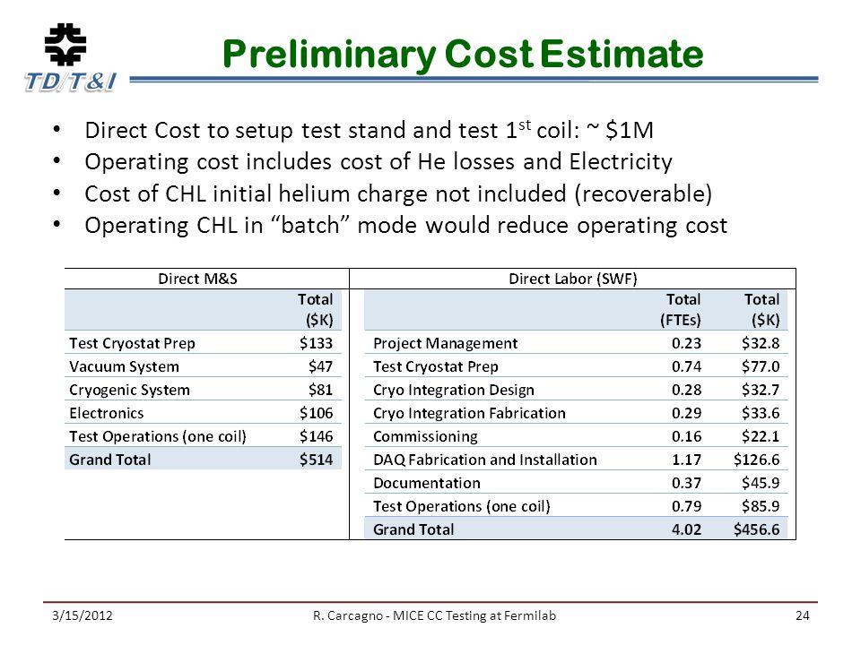 Preliminary Cost Estimate 3/15/2012R.