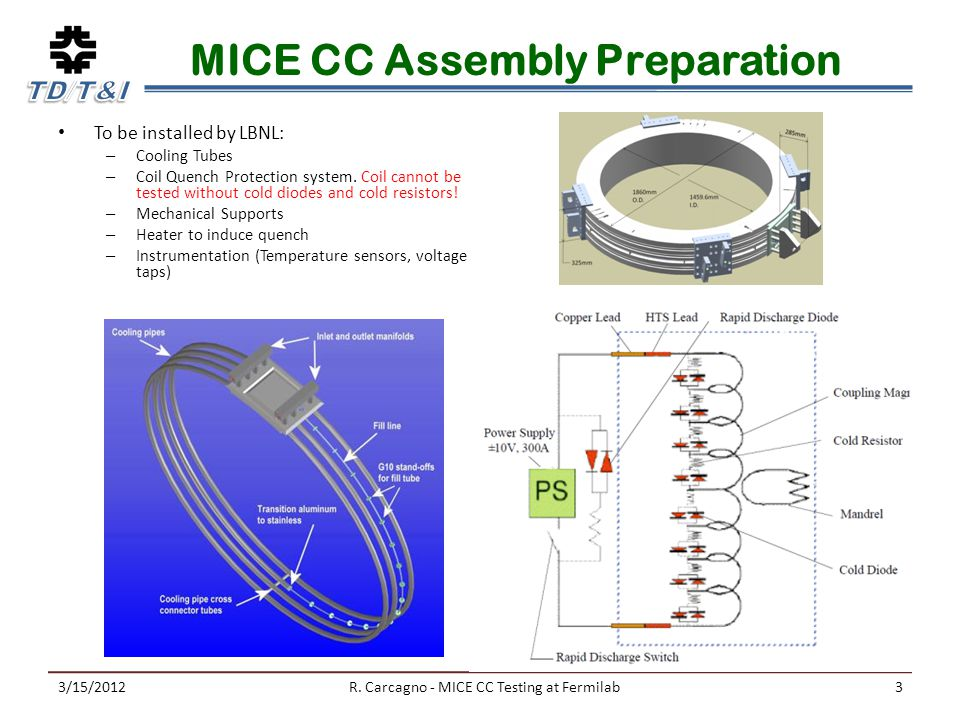 MICE CC Assembly Preparation To be installed by LBNL: – Cooling Tubes – Coil Quench Protection system.