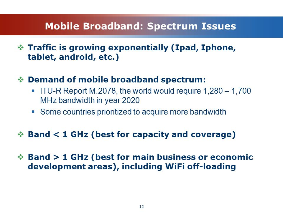 Mobile Broadband: Spectrum Issues  Traffic is growing exponentially (Ipad, Iphone, tablet, android, etc.)  Demand of mobile broadband spectrum:  IT