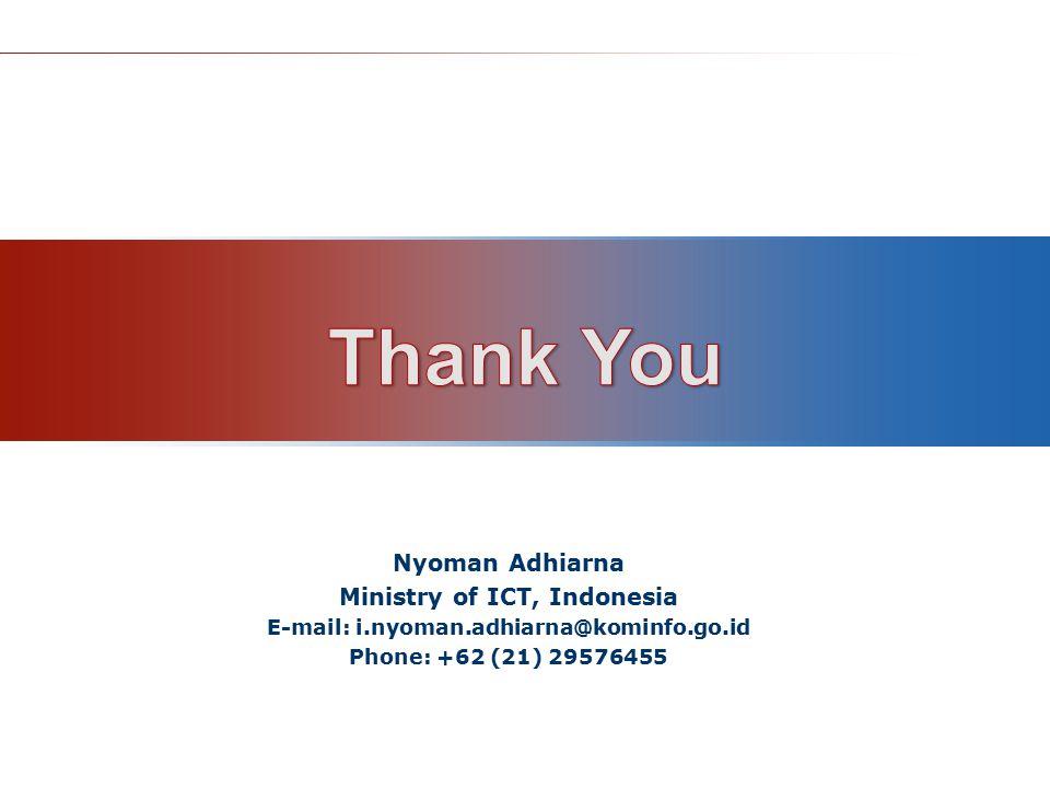 Nyoman Adhiarna Ministry of ICT, Indonesia E-mail: i.nyoman.adhiarna@kominfo.go.id Phone: +62 (21) 29576455