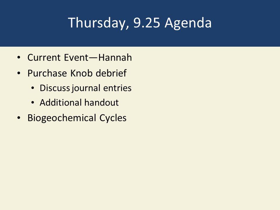 Thursday, 9.25 Agenda Current Event—Hannah Purchase Knob debrief Discuss journal entries Additional handout Biogeochemical Cycles