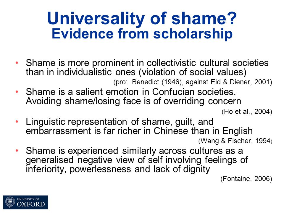 Universality of shame? Evidence from scholarship Shame is more prominent in collectivistic cultural societies than in individualistic ones (violation