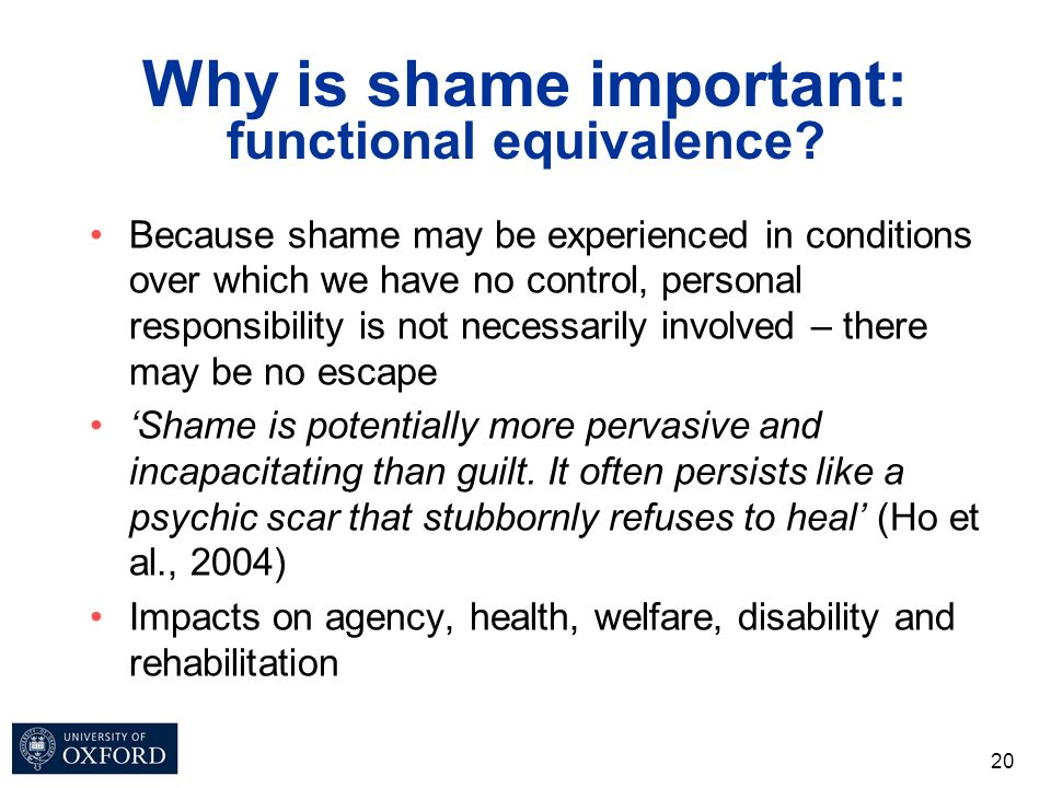 Why is shame important: functional equivalence? Because shame may be experienced in conditions over which we have no control, personal responsibility