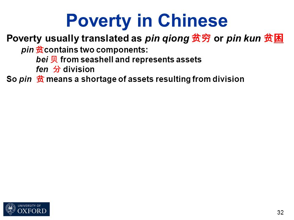 Poverty in Chinese 32 Poverty usually translated as pin qiong 贫穷 or pin kun 贫困 pin 贫 contains two components: bei 贝 from seashell and represents asset