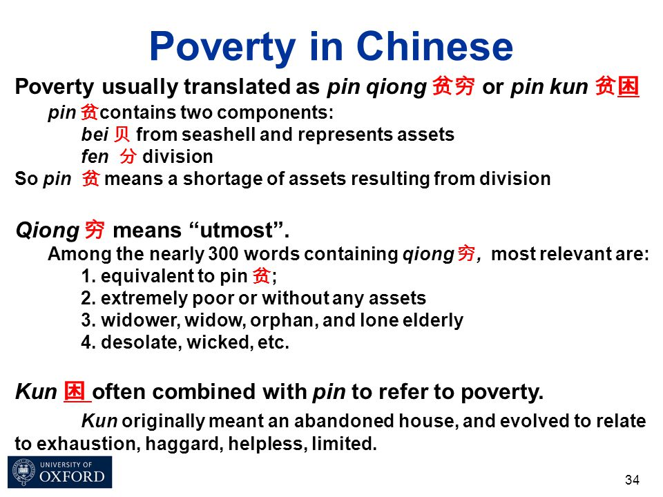 Poverty in Chinese 34 Poverty usually translated as pin qiong 贫穷 or pin kun 贫困 pin 贫 contains two components: bei 贝 from seashell and represents asset
