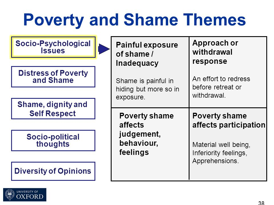 38 Socio-Psychological Issues Poverty and Shame Themes Distress of Poverty and Shame Shame, dignity and Self Respect Socio-political thoughts Diversit