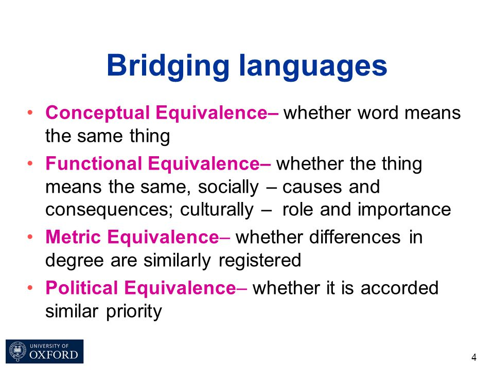 Bridging languages Conceptual Equivalence– whether word means the same thing Functional Equivalence– whether the thing means the same, socially – caus